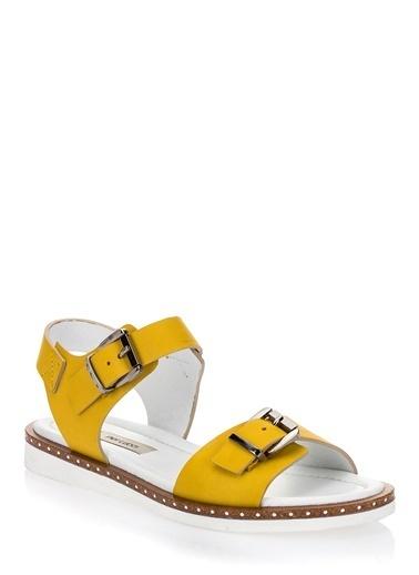 Pier Lucci Hakiki Deri Sandalet Sarı